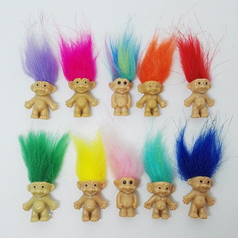 2017 New 5pcs/lot Colorful Hair Troll Doll Family Members Dad Mum Baby Boy Girl Dam Trolls Toy Gift Happy Love Family