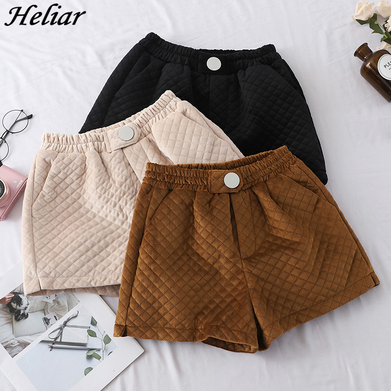 HELIAR Autumn Winter   Shorts   Vintage Casual Pockets Elastic High Waist Corduroy   Shorts   Velour Warm Thick Female Plaid   Shorts