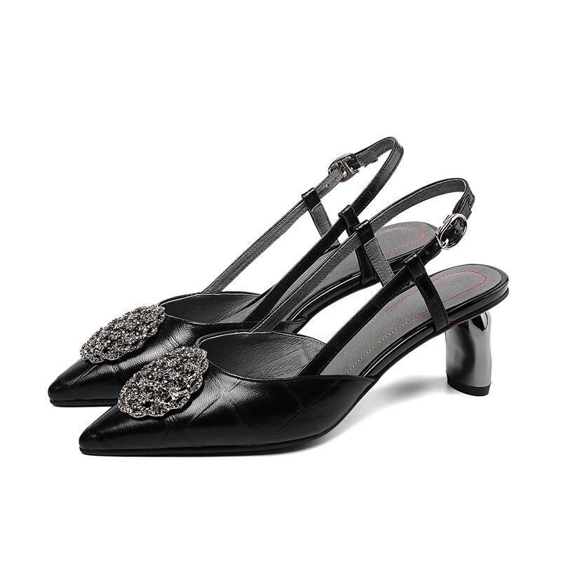 Ayakk.'ten Yüksek Topuklular'de ALLBITEFO moda marka metal süsler tam hakiki deri yüksek topuklu ofis bayan ayakkabı yaz plaj sandaletleri kadın sandalet'da  Grup 3