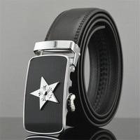 LannyQveen New Model Fashion Star Belts For Men Men S Automatic Buckle Belt Alloy Split Cow