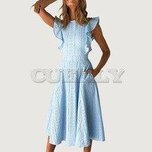 Cuerly elegant lace embroidery dress women 2019 summer party club ruffled midi crochet chic vestidos L5
