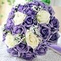 Púrpura hermosa de La Boda Ramos de Novia Flores de La Boda Ramo Todos Hechos A Mano Perlas Artificiales Flor Rosa Ramos de novia ramo de boda