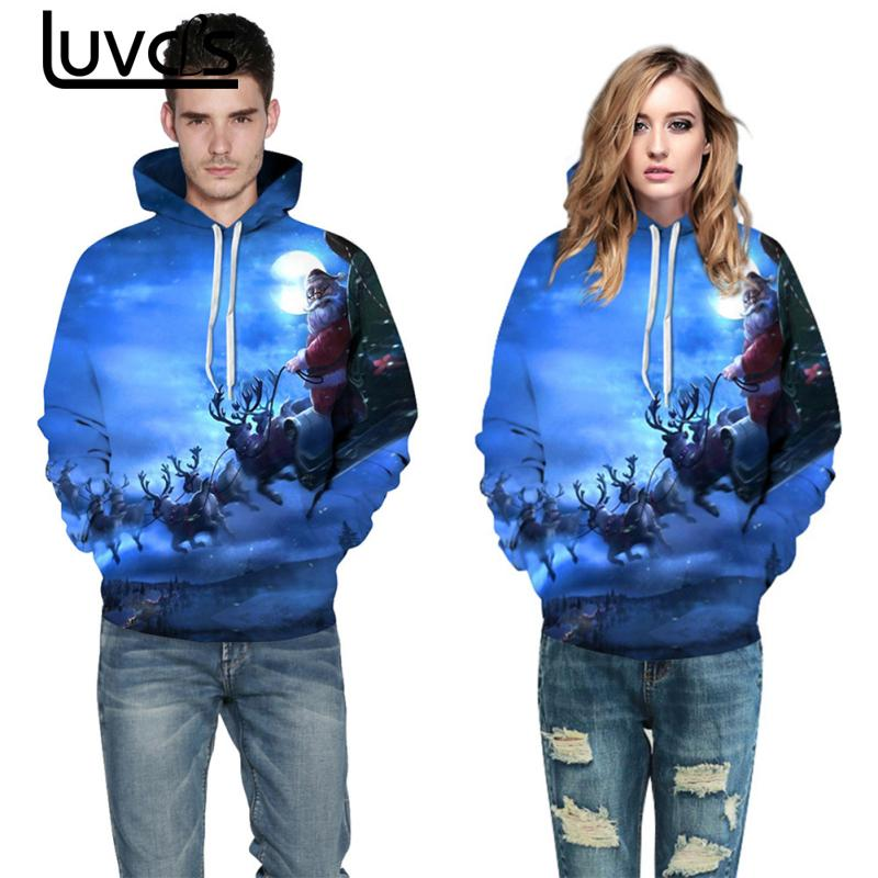 LUVCLS Santa Printing Hooded Sweatshirts Fashion Women Men Couple Christmas Leisure Long Sleeve Warm Hoodies Sweatshirt