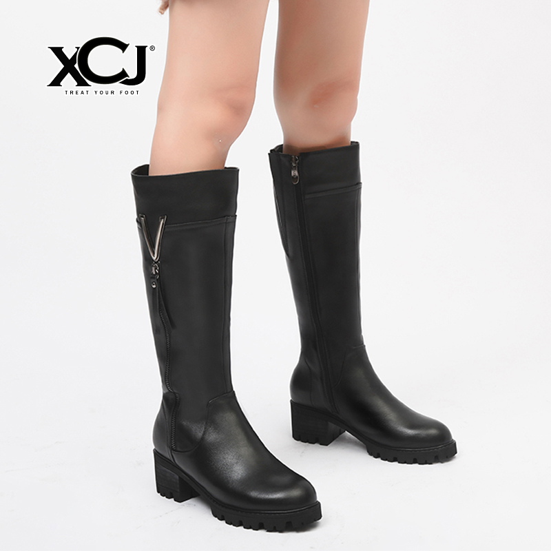 купить Genuine Leather Women Winter Boots Brand Women Winter Shoes Natural Wool Plush Warmful High Quality Knee High Boots XCJ по цене 4997.82 рублей