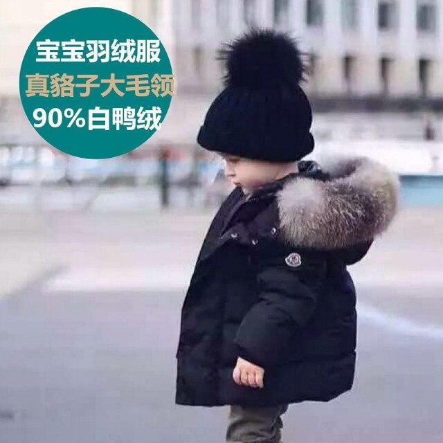 Высокое Качество Мальчиков Толщиной 90% Белая Утка Вниз Пальто С Капюшоном Пуховик Роскошный Реальная Куница Волосы Лисицы Теплая Зимняя Одежда