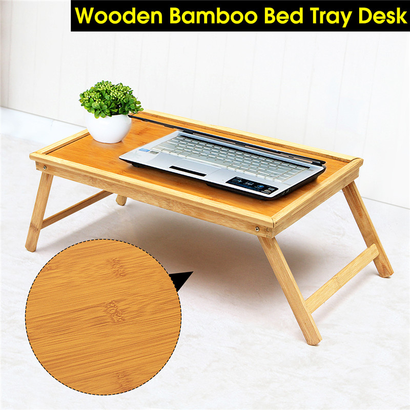 Foldable New Laptop Stand Holder Notebook Cooler Cooling Wooden Bamboo Bed Tray Breakfast Laptop Desk Tea Serving Table Stand
