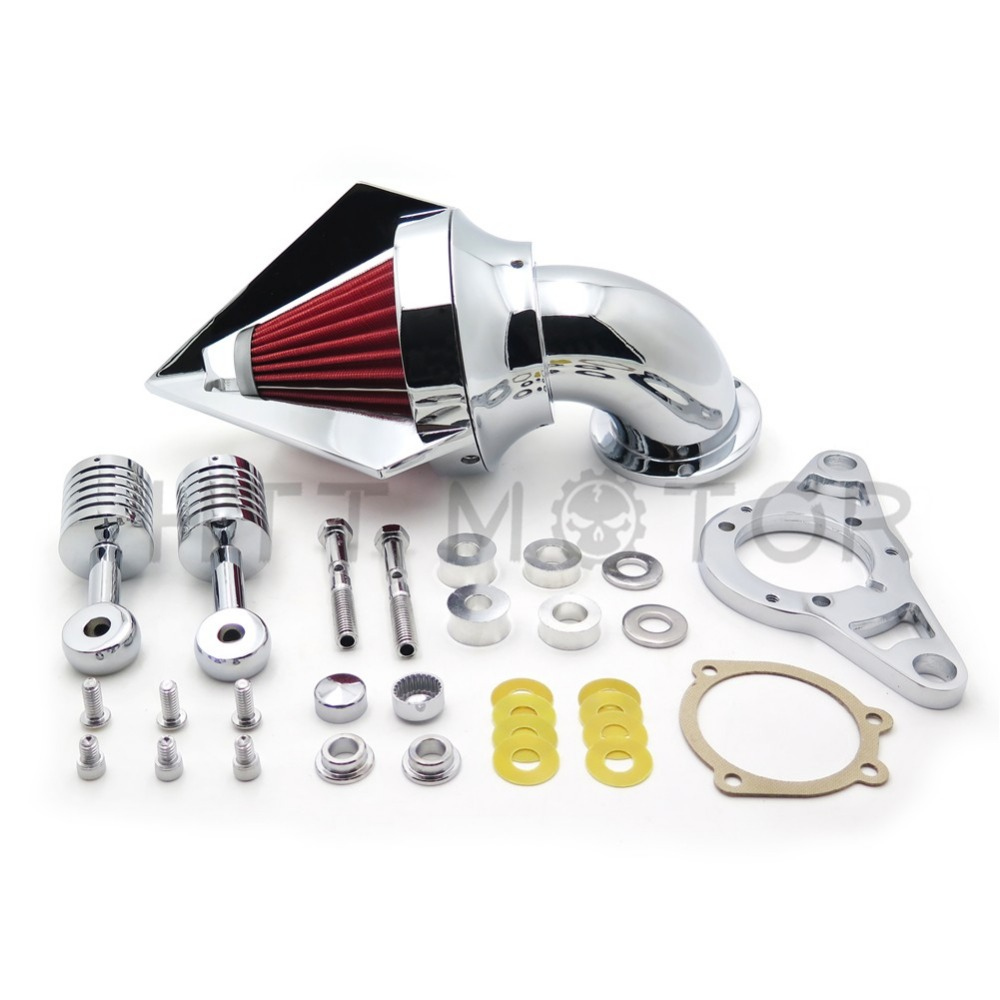 Aftermarket free shipping motorcycle parts Harley Softail Fat Boy Dyna Street Bob Wide Glide Cone Air Cleaner Chrome