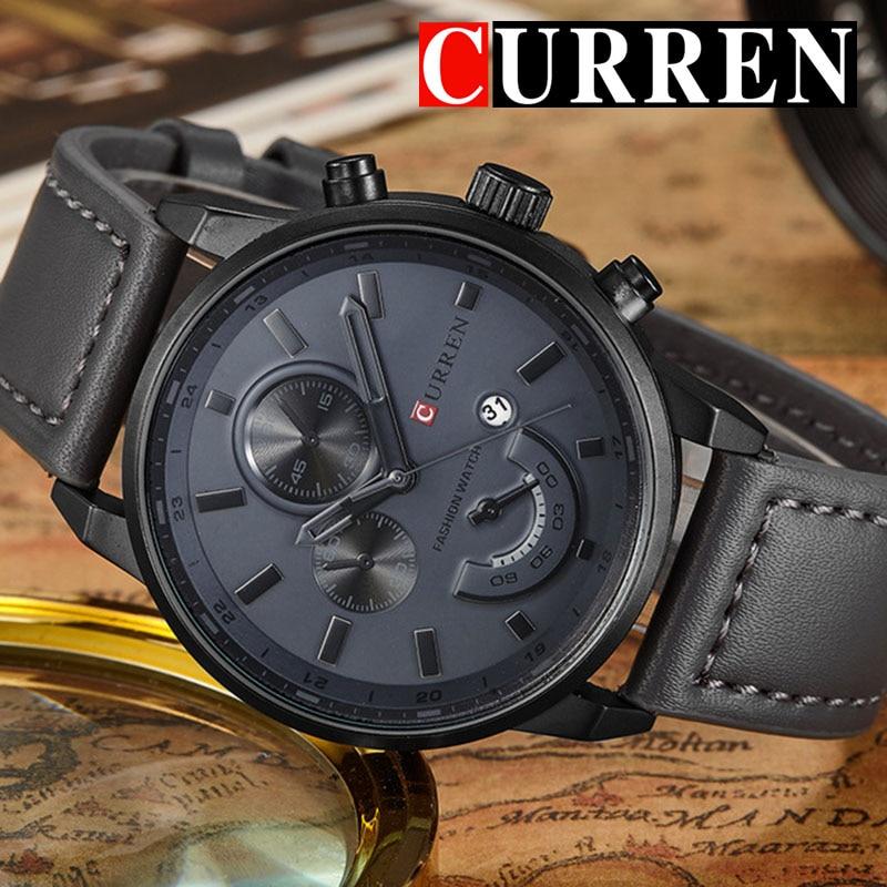 Relogio Masculino Curren Quartz Watch Men 8217 Top Brand Luxury Leather Mens Watches Fashion Casual Sport Clock Men Wristwatches