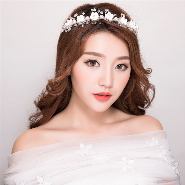 white flower headband korean style floral hairwear bridesmaids
