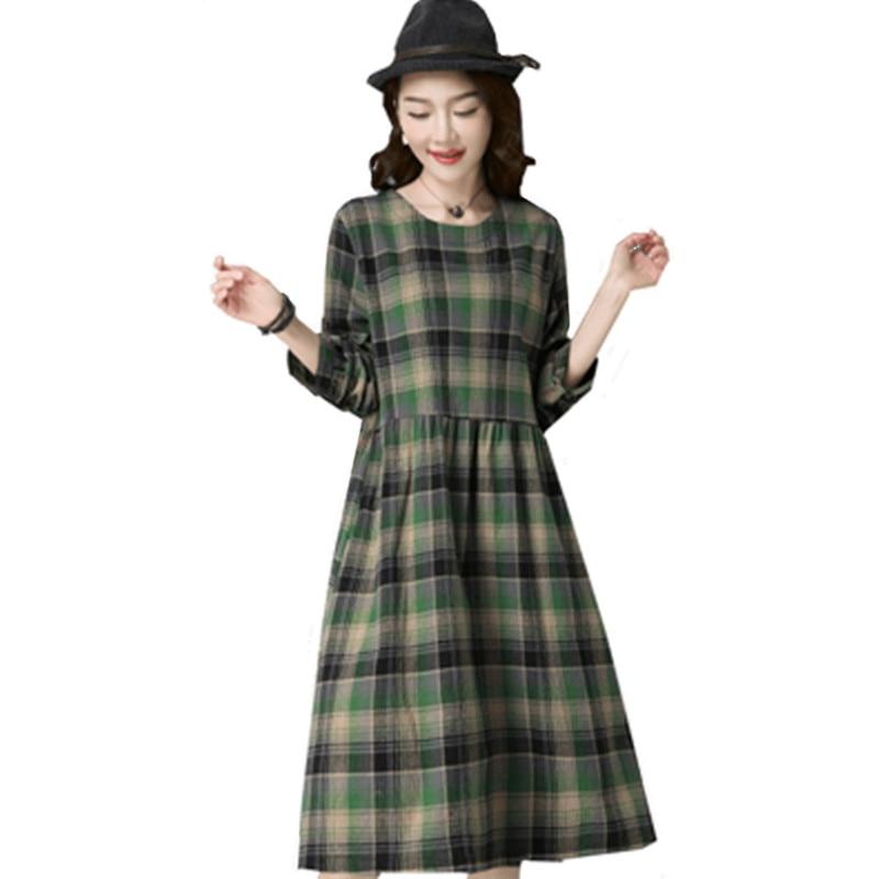 Femmes Qpipsd 2018 Wear Longues Casual Coton À Drees Section Automne Mode Longue Et Plaid Green Robe Manches Mince Un Nouvelles De Printemps red ARjL354q