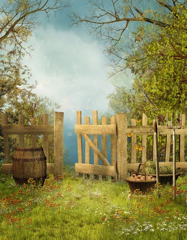 5x7ft Light Blue Sky Green Garden Farm Heavest Grass Fence
