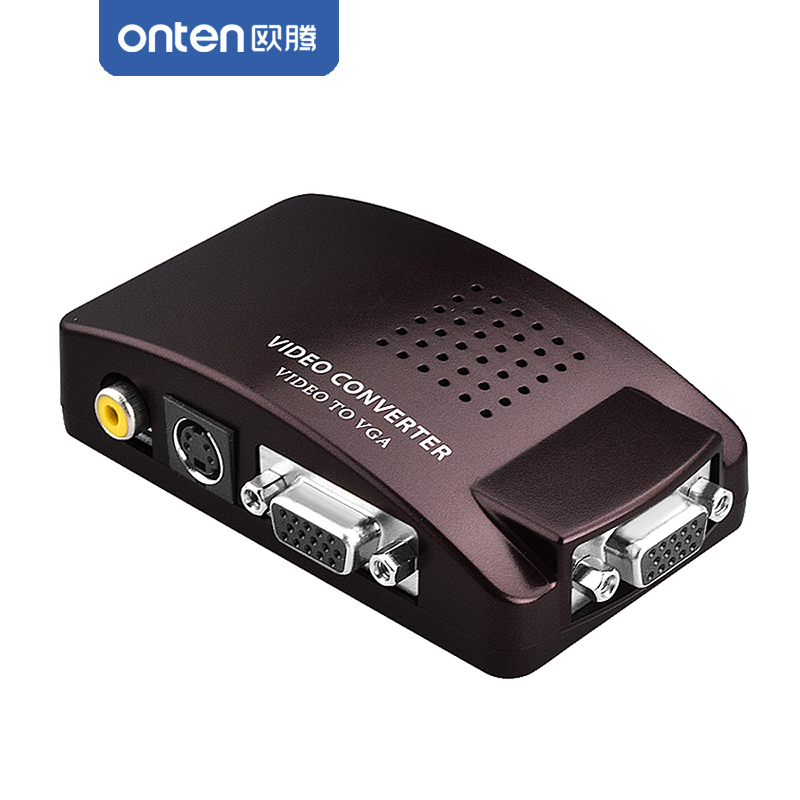 ONTEN RCA AV Composite Video S-Video set-top-box PC To VGA input TV / LCD Display Monitor / Video Converter Adapter Switch Box pc laptop composite video tv rca composite s video av in to pc vga lcd out converter adapter switch box
