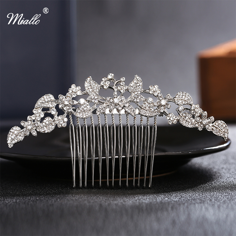 Miallo Austrian Rhinestone Crystal Hair Combs Wedding Tiara Bridal Party Gift Silver Plated Vintage Hair Pins Hair Accessories
