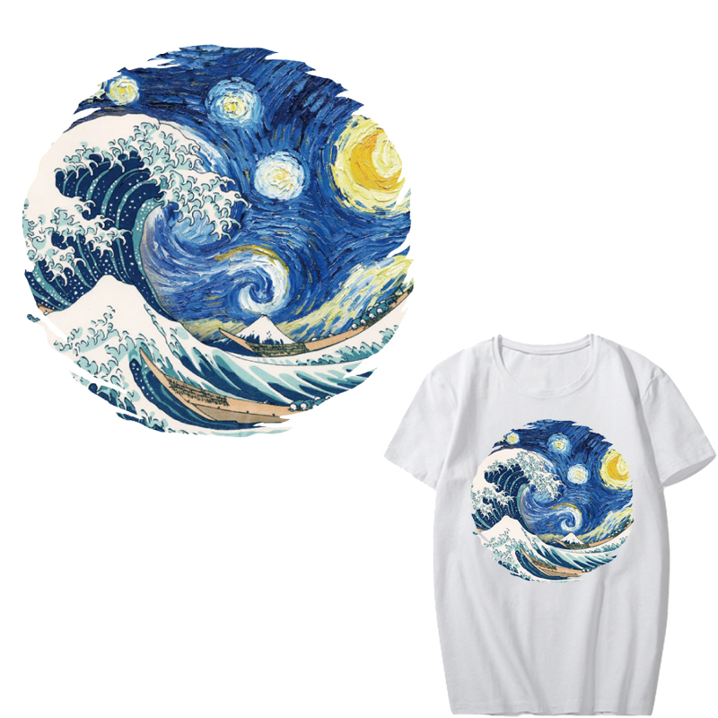 Van Gogh Patch Iron on Transfers for Clothing DIY T shirt Appliques Heat Transfer Vinyl The Starry Night Stickers on Clothes in Patches from Home Garden