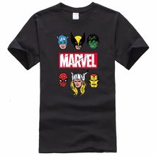 New Fashion Marvel Short Sleeve T-shirt Men Superhero print t shirt O-neck comic Marvel shirts tops men clothes Tee(China)