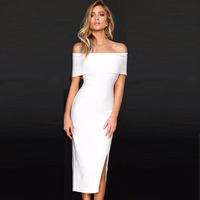 Seamyla New Sexy Bandage Dress White Black Nude Red Off The Shoulder Split Bodycon Evening Party Dresses Women Summer Dress Club