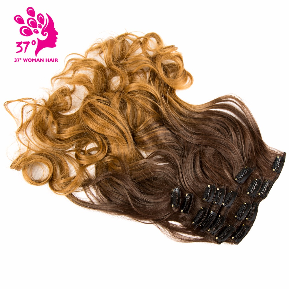 Synthetische Haarverlängerung Neue Mode 20 Zoll 7 Teile/satz Lange Clip In Ins Haar Extensions Synthetische 100% Reale Natürliche Haar-erweiterungen Für Vollen Kopf Das Ganze System StäRken Und StäRken