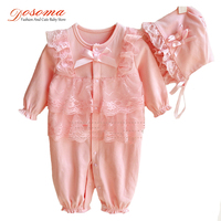 Newborn Baby Girls Fashion Cute Sets Toddler Girls Lace Cotton Leotard Bow Hat 2Pcs Infant Casual
