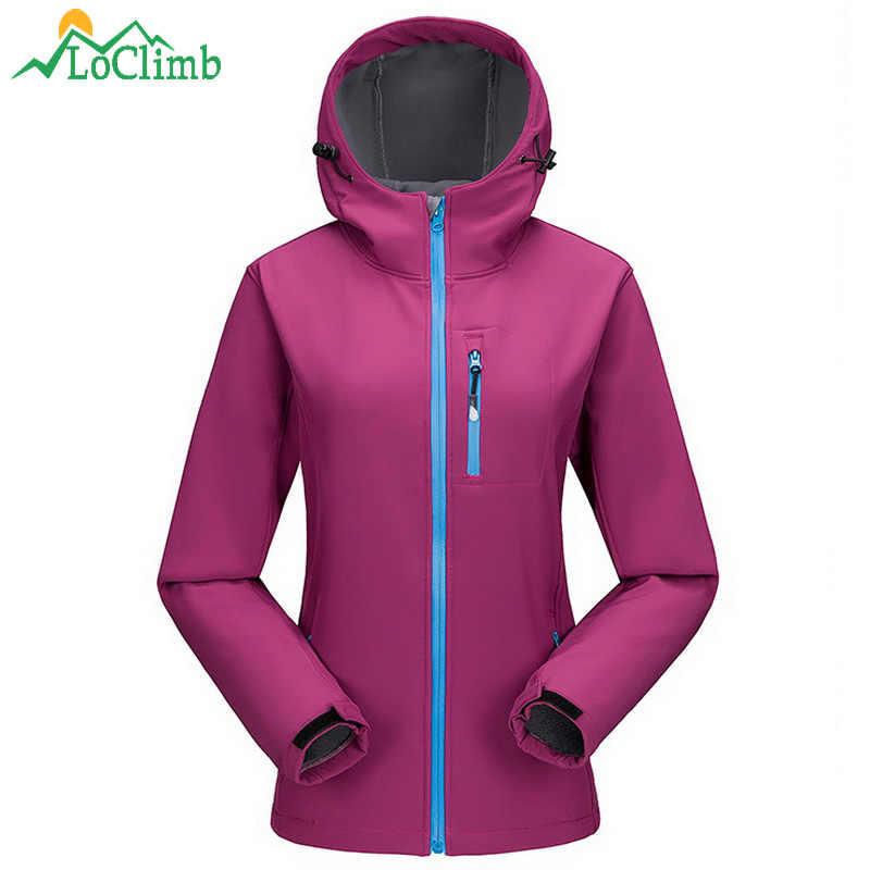 LoClimb Outdoor Camping Wandelen Vrouwelijke Jassen Fleece Softshell Waterdicht vrouwen Windjack Trekking Ski Sport Jas, AW098