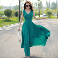 SZMXSS Summer Maxi Dresses Fashion Sleeveless White Green Yellow Boho Bohemian Beach Chiffon Long Dress Plus