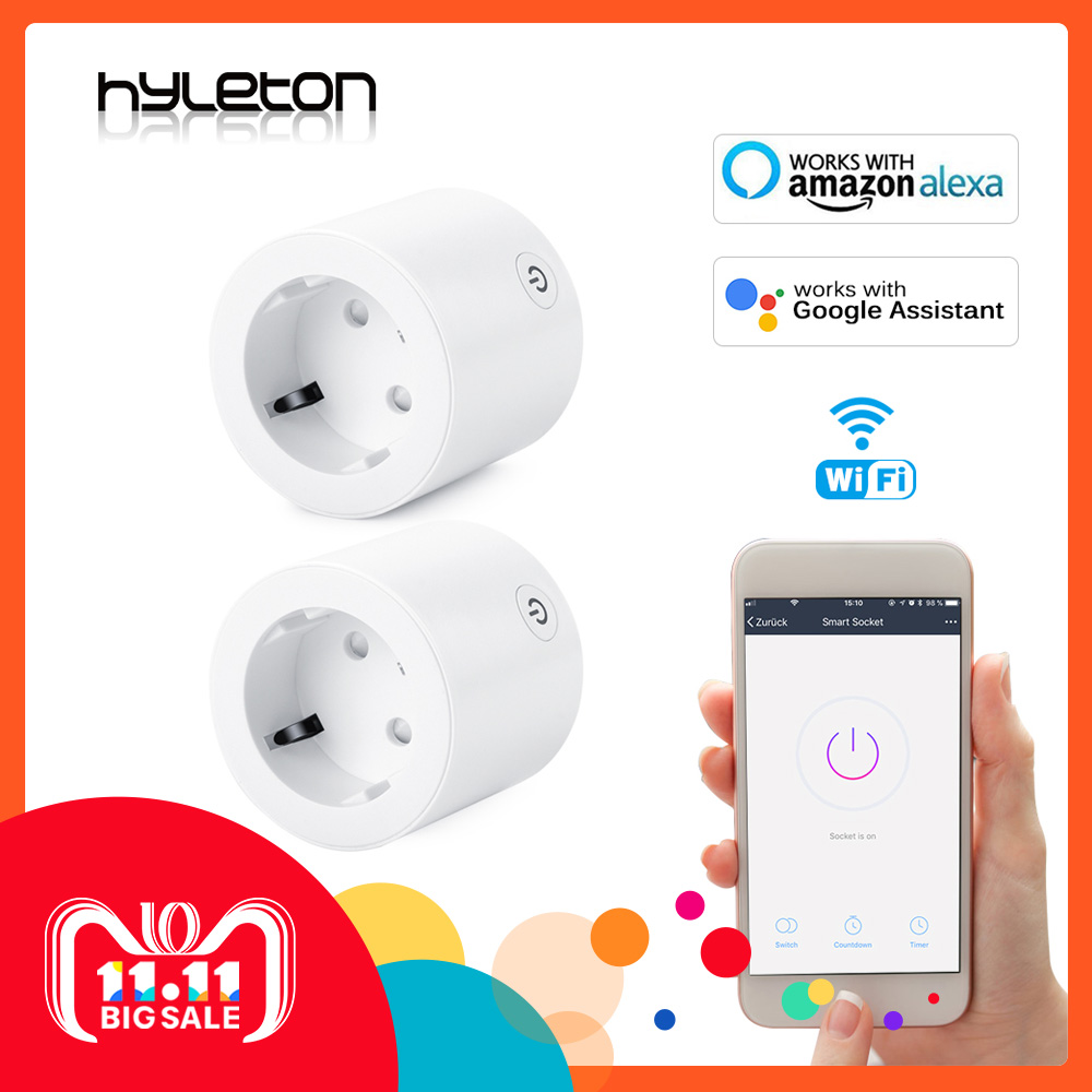 2 Pack Hyleton smart socket wifi plug Remote Control US/UK/EU power switch Working with Amazon Alexa and Google for smart life