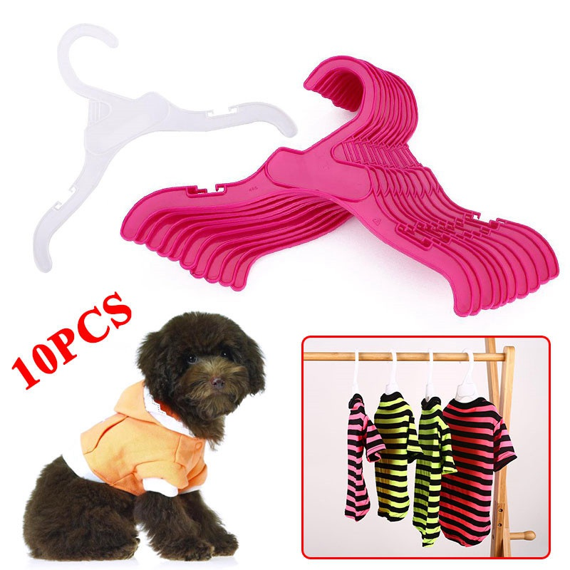 Dog Clothes Hangers Hook Dogs Pets Accessories Pet Hanger For Clothes 10PCS/Set Plastic Tough Rack Hanger White&Red Length Dog E