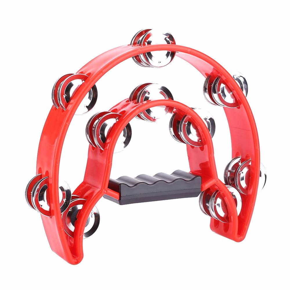 Compact Double Row Half Moon Music Instrument Tambourine Percussion Drum Durable Entertainment Percussion Instrument