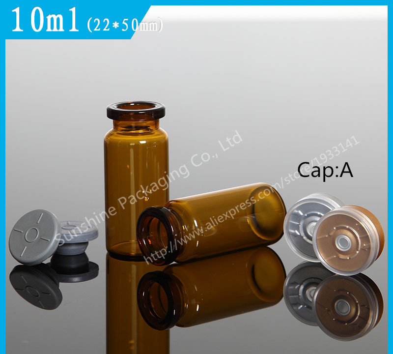 100Pcs lot 10ml Amber Brown Injection Glass Vial With Flip Off Cap 1 3oz Glass Bottle