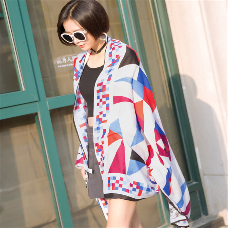 CW cotton linen rainbow lattice triangle color printing scarf beach sunscreen shawl for women four seasons work 180*100 CM
