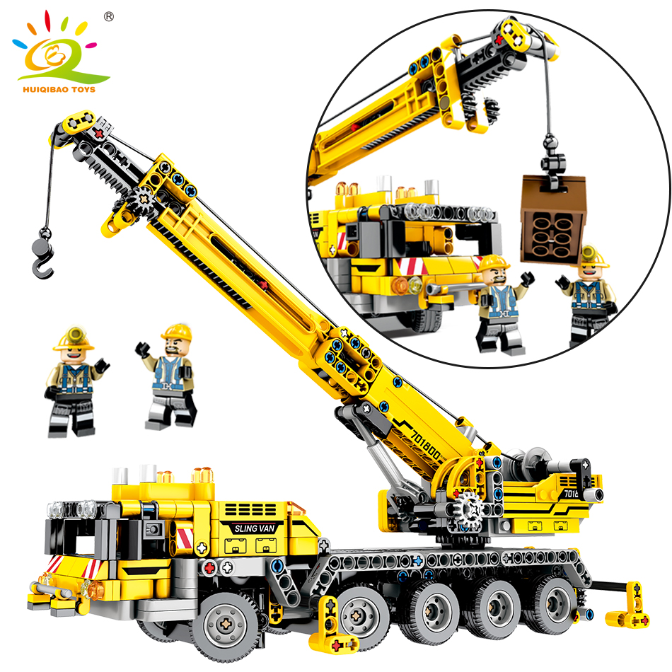 665pcs Engineering Lifting Crane Building Blocks Compatible Legoed Technic Car Bricks City Construction Bricks Toys For children engineering excavator vehicles bulldozer model building blocks compatible legoed city construction enlighten bricks children toy