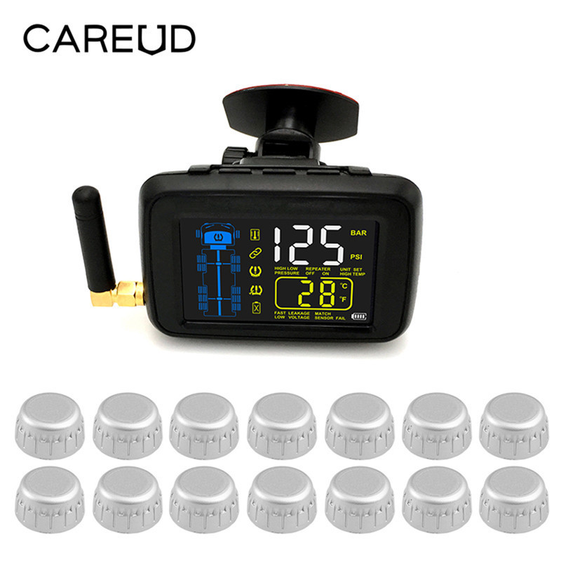 U901RV Universal Trucks Car Wireless Tire Pressure Monitoring System with 14Pcs External Sensor Color LCD Dispaly For Truck Van