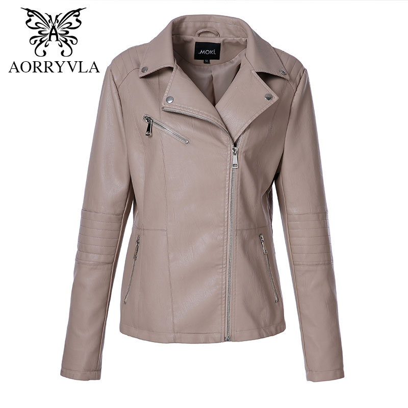 AORRYVLA 2018 New Autumn Women Jacket Leather Plus Size Full Sleeve Turn-Down Collar Zippers Short Slim Ladies Leather Jacket