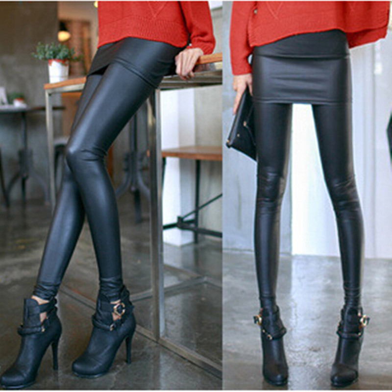 WKOUD New Fashion Leather Skirt Leggings Women's Sexy Pencil Pants Autumn Footless Leggings With Skirts Black Casual Wear LG-468