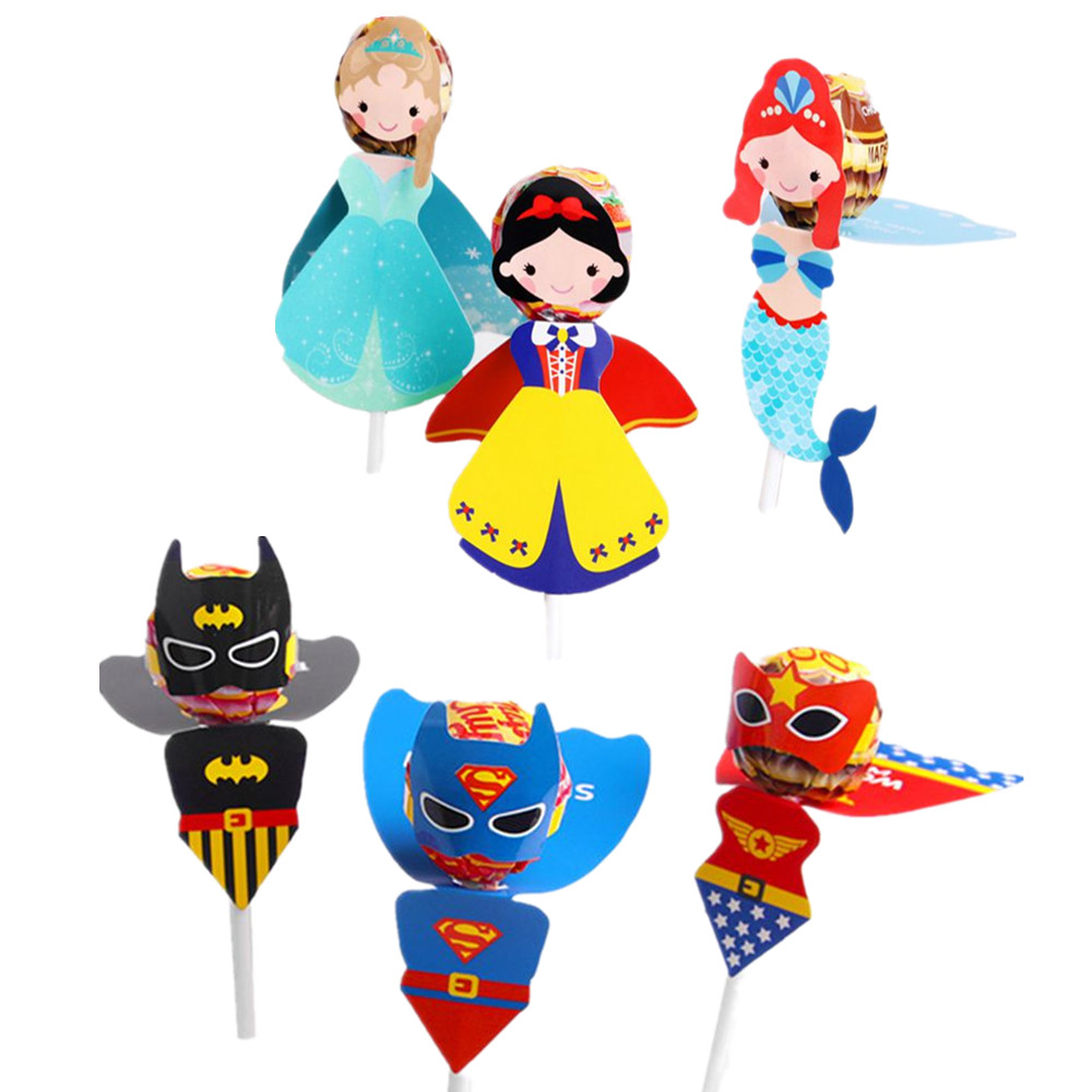 Superhero Princess Little Mermaid Party Supplies Candy Box Lollipop Box Kid Birthday Favor Boxes Candy Lollipop Decoration Card