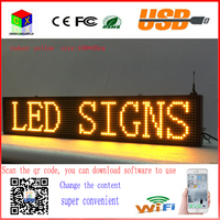 40X8 Inch P10 Indoor Yellow LED Sign Wireless And Usb Programmable Rolling Information 100x20MM Led Display