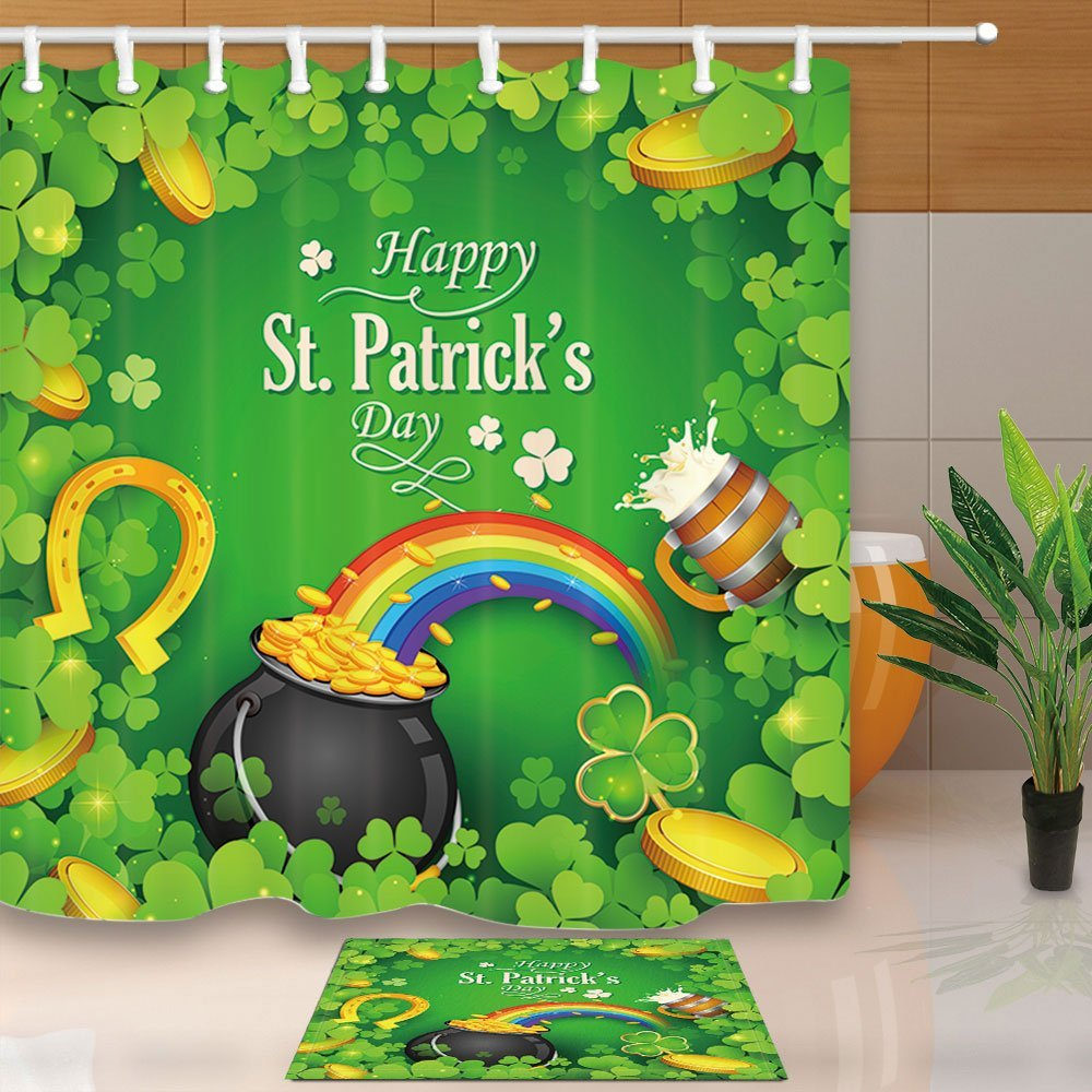 Saint Patricks Day Decor Gold Coin with Rainbow Clover Leaf Mildew Shower Curtain Set Flannel Non-Slip Floor Doormat Bath Rugs