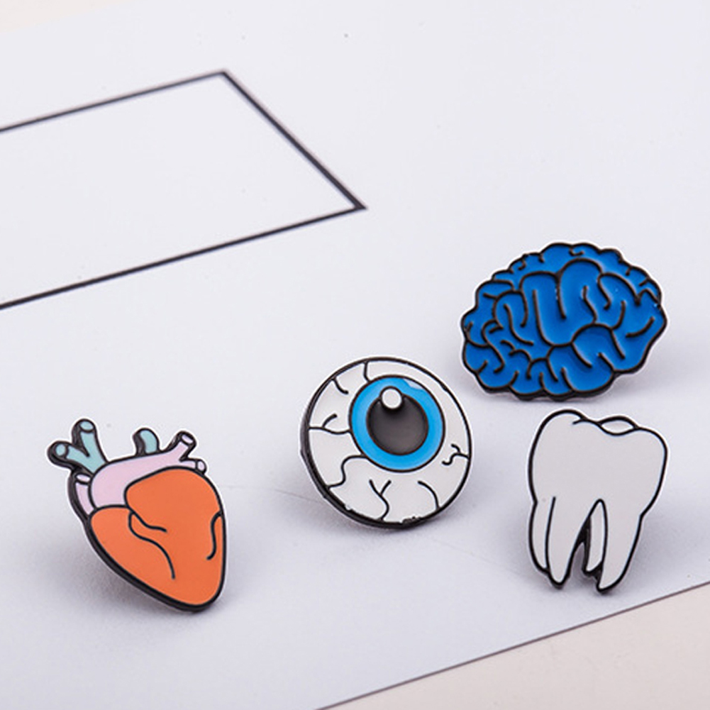 1pc Creative Zinc Alloy Enamel Eye Teeth Brain Heart Brooches Pins Human Body Organs For Womens Jewelry Needle Brooch