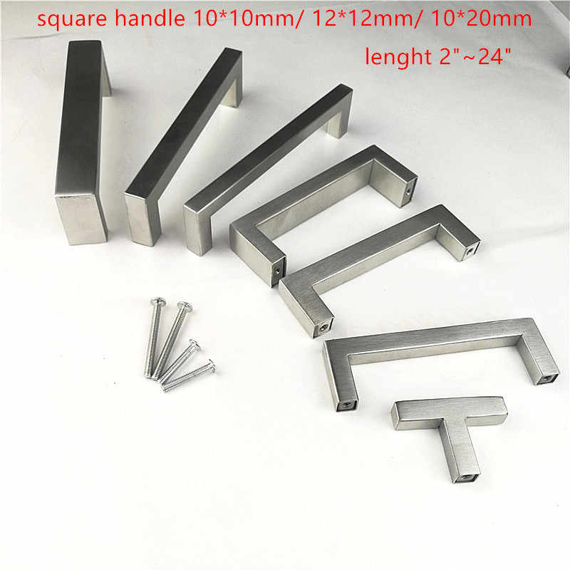 "Square handle 10*10 12*12 10*20mm Stainless Steel Brushed Kitchen Door Cabinet Handle Pull Knob 2""~24'' free shipping"