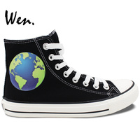 Wen 2017 New Black Canvas Shoes Design Earth High Top Men Women S Casual Shoes For