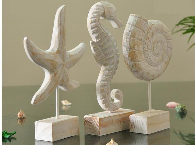Mediterrane Accessoires 1 st mediterrane stijl houten handwerk in schelp zeester creatieve