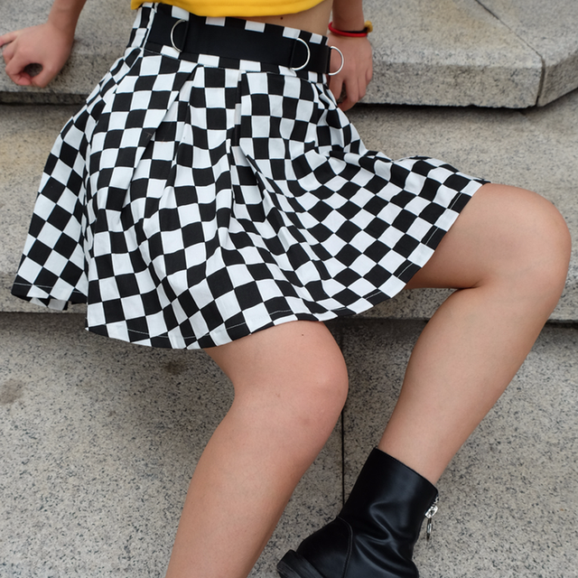 DICLOUD 2019 Pleated Checkerboard Skirts Womens Harajuku High Waisted Skirt Casual Dancing Korean Sweat Short Summer Mini Skirts 3