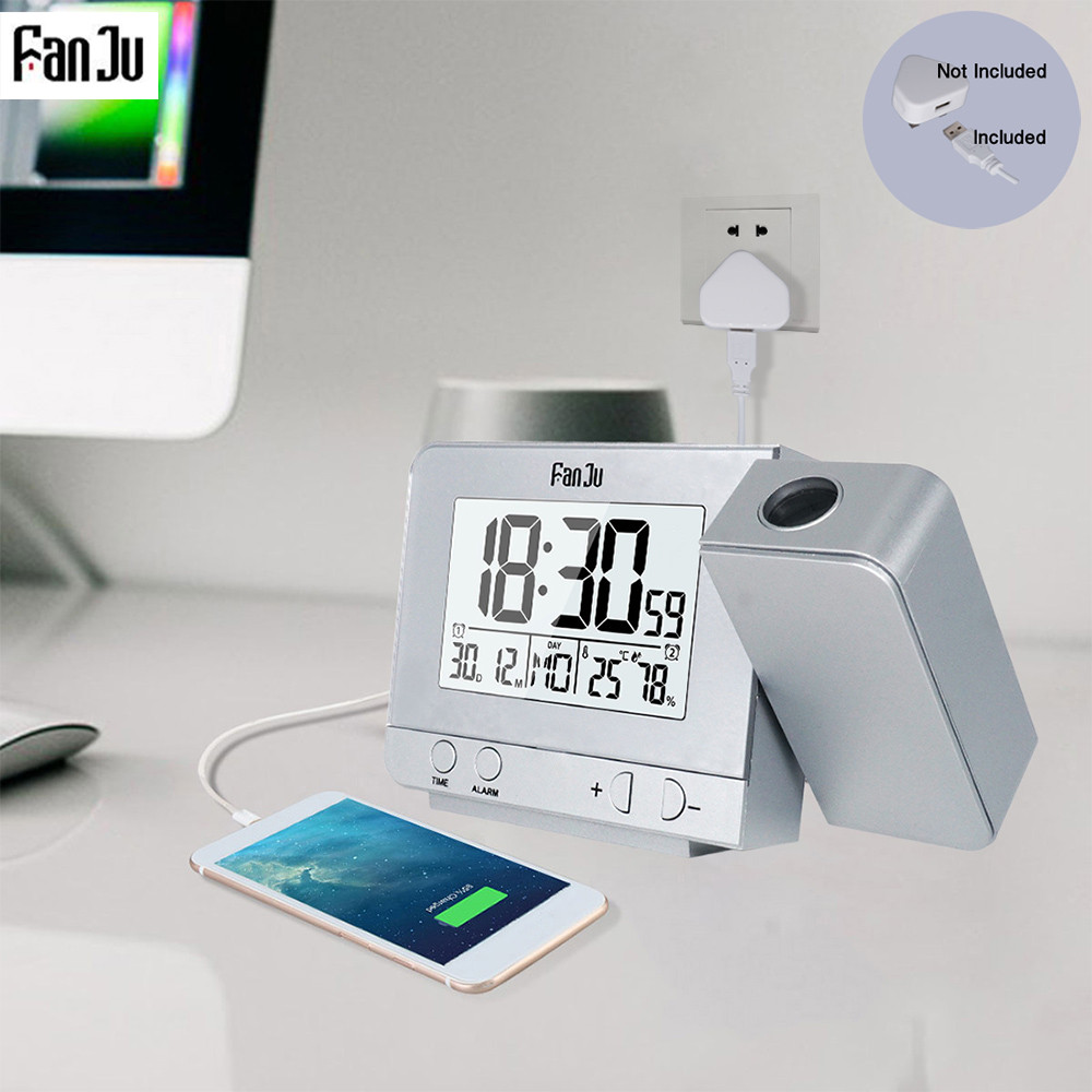 Fanju FJ3531 Projection Alarm Clock Digital Date Snooze Function Backlight  Rotatable Wake Up Projector Multifunctional Led Clock Alarm Clocks  -  AliExpress