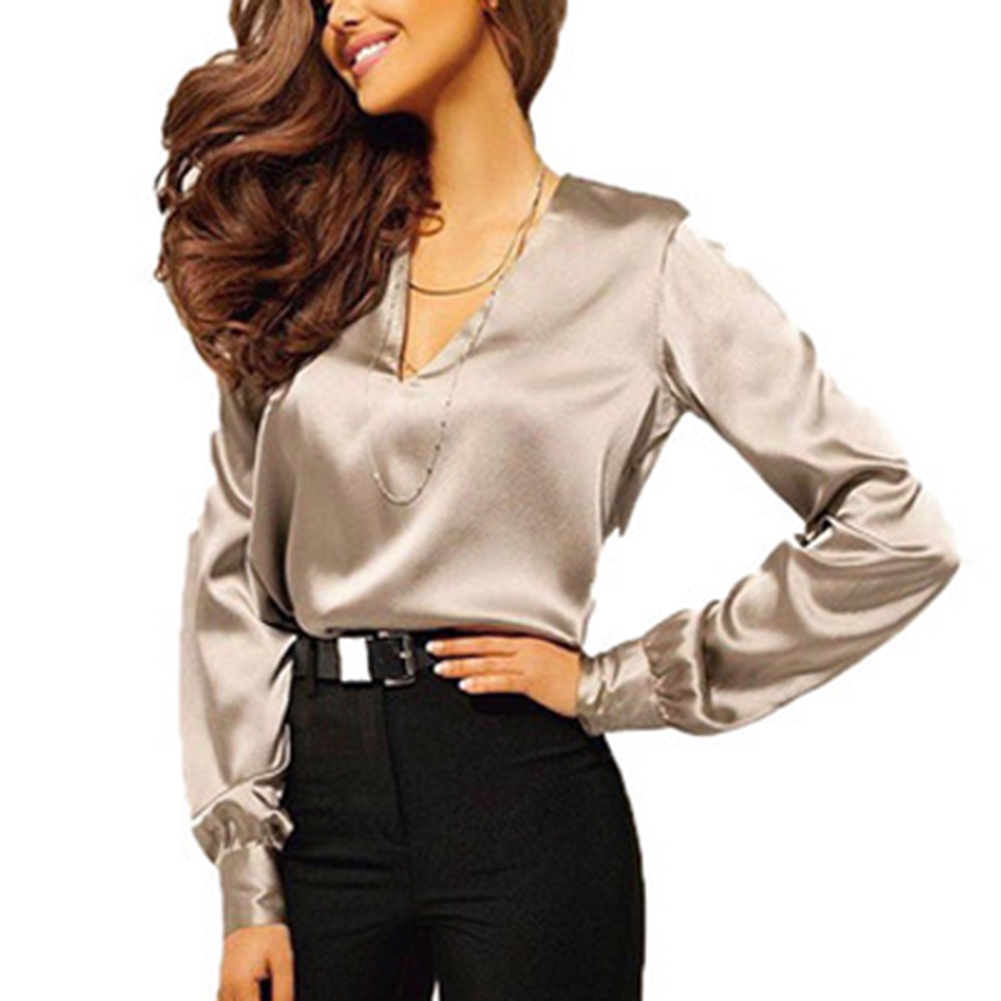 Women Fashion   Blouse   Long Sleeve Satin   Blouse   Vintage V Neck Street   Shirts   Elegant Top Solid Ladies Red Pink Business   Shirts   Hot
