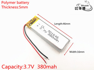 Image 2 - 10pcs/lot 3.7V 380mAh 501646 Lithium Polymer Li Po li ion Rechargeable Battery cells For Mp3 MP4 MP5 toy mobile bluetooth