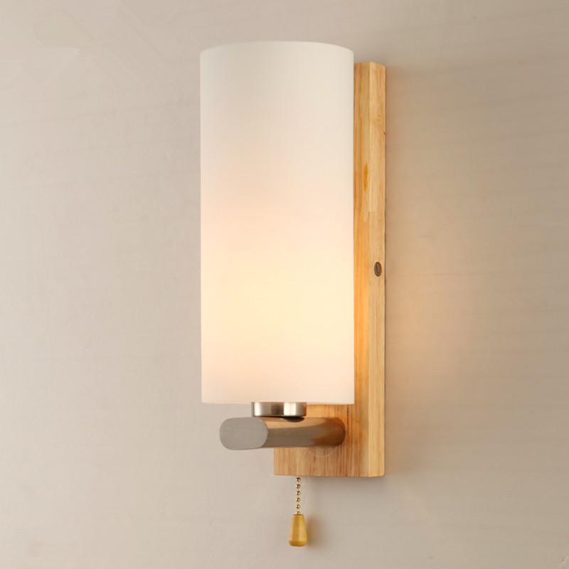 Aliexpress.com : Buy Modern Wood osk Wall Lamp Bedroom Bedside Wooden Glass Wall Sconces kitchen ...