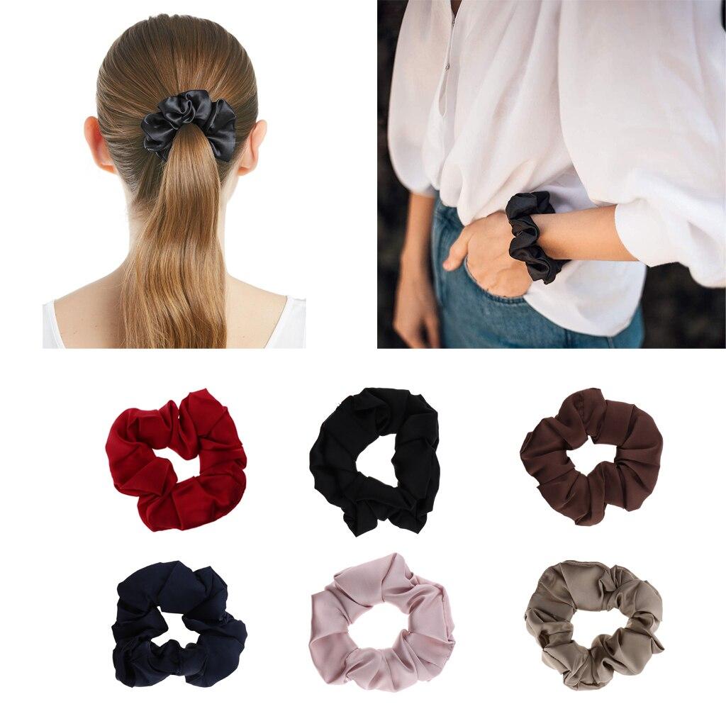 100% Silk Hair Scrunchies Elastic Hair Band Soft Bobble Hair Tie Ponytail Holder Hair Accessory For Women Ladies Girls