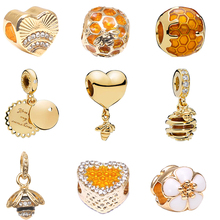 Boosbiy 2pc 2018 Valentines day Bead heart Minnie Bees Fit Women Pandora Charm Gold original Bracelet & Bangle making mixBD321