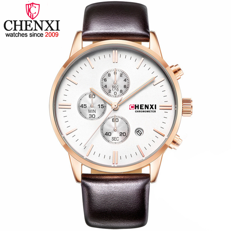 CHENXI Fashion Men Clock Quartz Watches Top Brand Luxury Chronograph Leather Sport Watches Men Wrist Watch Relogio Masculino new chenxi clock watches men top brand luxury mens leather wristwatches men s quartz popular sports watch relogio masculino