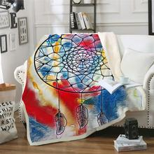 Dreamcatcher Microfiber Bed Blanket Golden Black Throw Bohemian Home Textiles Sun and Moon Exotic Mantas