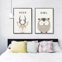 Unframed Animal Cartoon Canvas Painting Modern Wall Art Poster Sticker for Childrens Bedroom Decoration